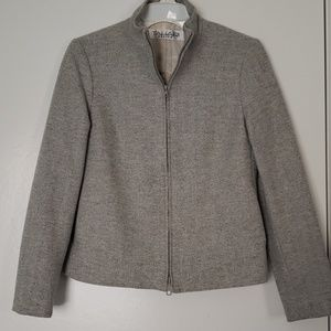 Tahari Petite Wool Knitted Ladies Grey Coat sz 2